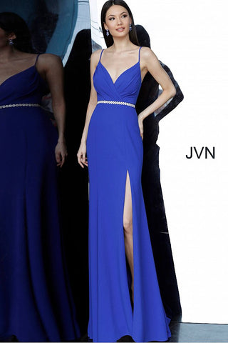 JVN02713 Royal blue Crepe dress, floor length sheath skirt with high slit and sweeping train, embellished belt at waist, sleeveless bodice with pleated bust, spaghetti straps over shoulders, plunging neckline, open back.