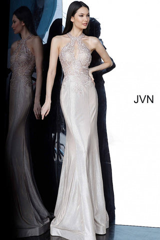 JVN by Jovani 02746 size 8 Nude Iridescent Shimmer 2020 Prom Dress