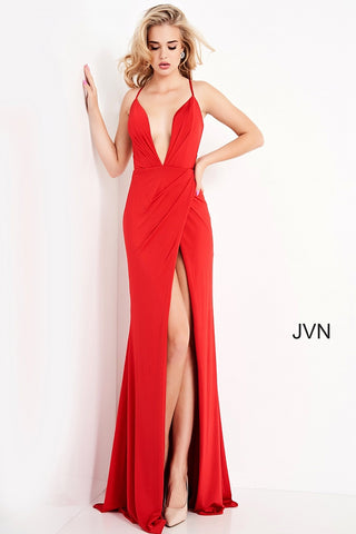 JVN02792 plunging neckline with straps that create a checkerboard design in the open back with a wrap style long skirt that has a high slit Colors Red, Black  Sizes  00, 0, 2, 4, 6, 8, 10, 12, 14, 16, 18, 20, 22, 24  JVN by Jovani 02792