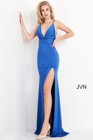 JVN02850 glitter fitted jersey plunging neckline prom dress with spaghetti straps that are embellished and have two straps across the open lower back and finishes with a side slit in the front and a sweeping train in the back. Sparkle the night away at your next formal event, pageant or prom.  Colors Royal, Red  Sizes  00, 0, 2, 4, 6, 8, 10, 12, 14, 16, 18, 20, 22, 24