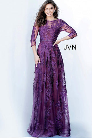 JVN02963 scoop neckline sheer three quarter sleeves embellished embroidered maxi evening gown, mother of the bride or groom dress, wedding guest dresses
