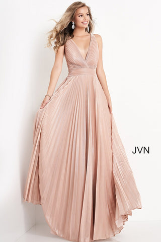 JVN03031 V neckline pleated long A line prom dress with straps that wrap around to a mid back and a long pleated skirt  Color Blush  Sizes  00, 0, 2, 4, 6, 8, 10, 12, 14, 16, 18, 20, 22, 24  JVN by Jovani 03031