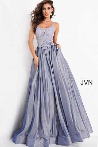 JVN03038 sheer embellished embroidered lace bodice scoop neckline with spaghetti straps, lace up corset open back shimmer iridescent long prom dress ball gown with pockets Colors:  Nude, Perri, Red  Sizes:  00, 2, 4, 6, 8, 10, 12, 14, 16, 18, 20, 22, 24