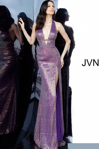 JVN by Jovani 03058 Long Fitted Sequin Embellished 2020 Prom Dress Plunging V Neckline