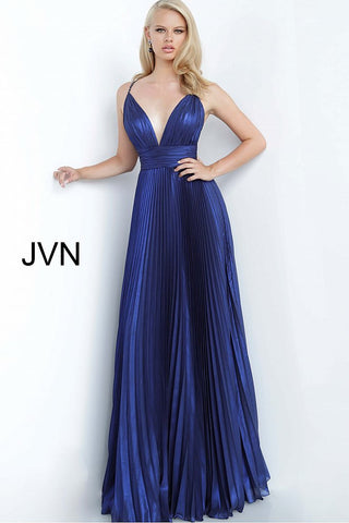 JVN 03061 is a long Iridescent Pleated maxi prom dress with a v neckline and embellished spaghetti straps and an open back with detailed crossing strap patterns.