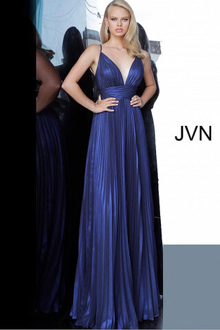 JVN03061 is a long Iridescent Pleated maxi prom dress with a v neckline and embellished spaghetti straps and an open back with detailed crossing strap patterns.