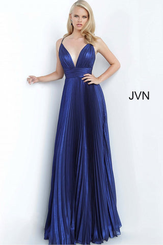 Jovani JVN03061 Long Iridescent Pleated Prom Dress Shimmer V Neck evening gown