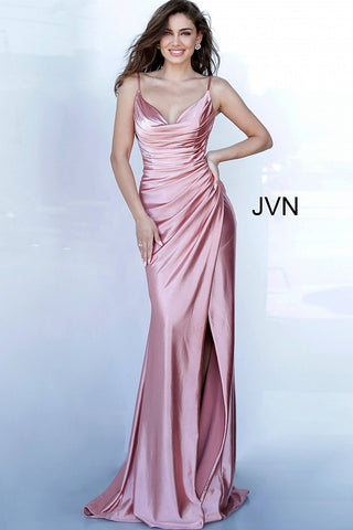 JVN 03104 is a long fitted satin prom dress with an asymmetrical ruched bodice and classy cowl neckline. High Thigh split with a small train in the back.