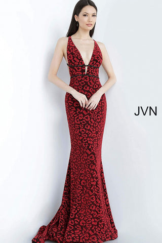 JVN 03169 is a long Fitted Prom Dress or Evening gown. Featuring a Black/Red Cheetah Print Lace. This animal print gown features a plunging neckline with embellished waistbands and open back with embellished straps. The skirt features a small train. JVN03169 Red Lace Prom Dress Formal Evening Gown