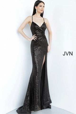 JVN03172 Ruched waist v neckline sequin tie back prom dress evening gown with slit