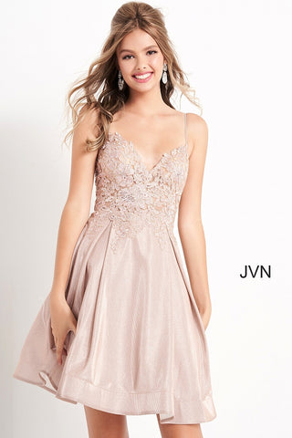 Jovani JVN04010 short v neckline shimmer fit and flare cocktail dress homecoming dress  Available colors:  Black, Brown, Olive, Nude, Perri  Available sizes:  00, 0, 2, 4, 6, 8, 10, 12, 14, 16, 18, 20, 22, 24  JVN 04010