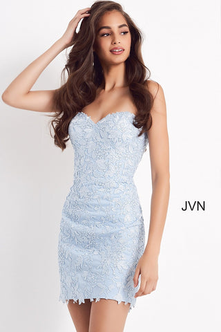 Jovani JVN04034 is a short Fitted formal cocktail dress. Featuring a strapless sweetheart neckline and the back had a beautiful v shape lace up corset. Lace disperses as it cascades down the length of the dress. scallop lace edge hem. JVN 04034 Available Sizes: 00,0,2,4,6,8,10,12,14,16,18,20,22,24  Available Colors: Blue, Burgundy, Emerald, Light Blue, Navy, Off White, Purple, Red