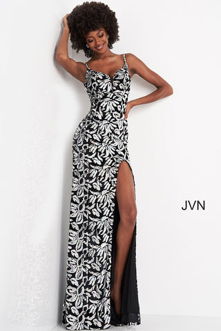 Jovani JVN04072 Size 10 Long Fitted Black Sequin Velvet Prom Dress Slit Sheer Panel V Neck