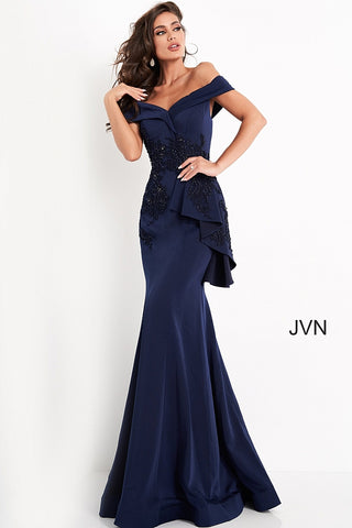 JVN04776 off the shoulder embellished peplum skirt long evening gown prom dress   Color Navy  Sizes  00, 0, 2, 4, 6, 8, 10, 12, 14, 16, 18, 20, 22, 24  JVN by Jovani 4776