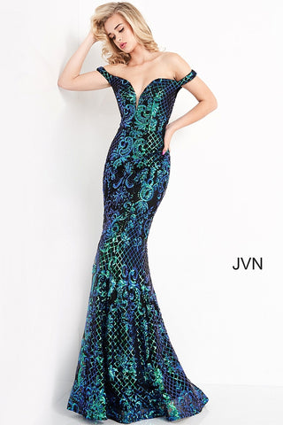 Jovani JVN04515 is an over the top 2021 Prom Formal Wear Style! This Glamorous Pageant Gown Features off the shoulder straps with a Plunging V Neckline. Fitted Mermaid Silhouette Cascades into a subtle lush trumpet skirt. Elaborate Multi Color Sequin Pattern form a damask print and add a Glamorous appeal. This gown is for those who want to be seen! Great for Plus Size! Great sexy wedding reception dress in ivory! JVN 04515