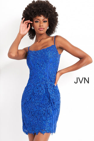 Jovani JVN04521 is a short fitted cocktail dress. Featuring a scoop neckline and spaghetti straps with scallop lace edges along the neckline and hem of the short skirt. Crystal Rhinestone embellished bodice. JVN 04521  Available Sizes: 00,0,2,4,6,8,10,12,14,16,18,20,22,24  Available Colors: Yellow, Royal, Fuchsia