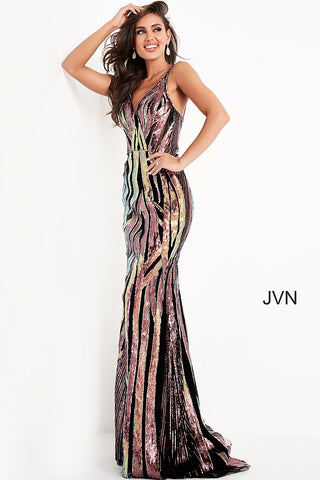 JVN04549 multi prom dress features a fitted silhouette in geometric sequins, with a notched V-neckline, semi-open back, and spaghetti straps. This form-fitting gown has a sweep train. Color Multi  Sizes 00, 0, 2, 4, 6, 8, 10, 12, 14, 16, 18, 20, 22, 24  JVN by Jovani 04549