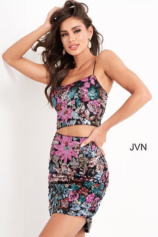 Jovani JVN04550 two piece multi sequin short fitted cocktail dress homecoming dress with open lace up corset in the back that ties. Available colors:  Multi  Available sizes:  00, 0, 2, 4, 6, 8, 10, 12, 14, 16, 18, 20, 22, 24