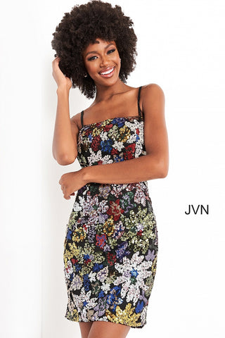 Jovani JVN04552 short fitted multi sequins cocktail dress with a square neckline and straps across the open back. Available colors:  Multi  Available sizes:  00-24