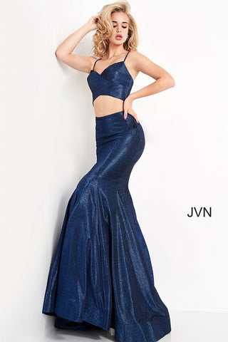 JVN04559 v neckline two piece glitter mermaid prom dress with cutout in the front and a corset lace up back Colors  Navy, Blush  Sizes  00, 0, 2, 4, 6, 8, 10, 12, 14, 16, 18, 20, 22, 24  JVN by Jovani 04559