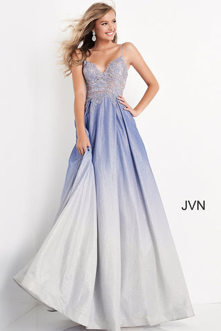 Jovani JVN04565 This Gown has it all! Featuring a fitted Lace & Metallic Embroidered Sheer Bodice with a v neckline and Embellished with crystal Rhinestones. AB Crystal Accented spaghetti straps and a lace up corset back closure. Pleated shimmering Ombre color shifting A Line Ball Gown skirt with Pockets! Perfect Prom Dress, Pageant gown & almost any formal event! JVN 04565 Available Sizes: 00,0,2,4,6,8,10,12,14,16,18,20,22,24  Available Colors: NUDE/OMBRE, OLIVE/OMBRE, PERRI/OMBRE