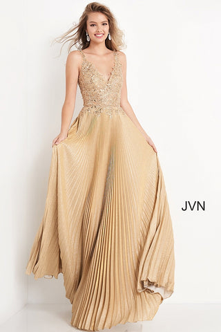JVN04568 V neckline embellished lace bodice, V back with a long pleated skirt prom dress, evening gown pageant dress Colors:  Gold, Navy  Sizes:  00, 0, 2, 4, 6, 8, 10, 12, 14, 16, 18, 20, 22, 24