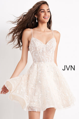 Jovani JVN04574 is a short fit an flare dress with a v neckline and spaghetti straps Available colors:  Ivory  Available sizes:  00-24