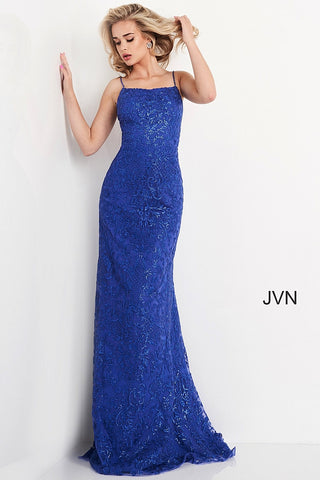 Jovani JVN04579 straight neckline embellished embroidered lace long mermaid prom dress with corset back and sweeping train  Colors Blush, Charcoal, Ivory, Red, Royal, Turquoise  Sizes  00, 0, 2, 4, 6, 8, 10, 12, 14, 16, 18, 20, 22, 24