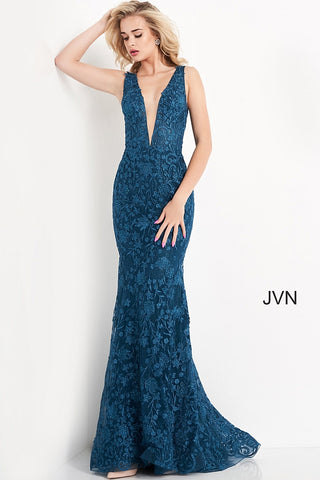 JVN04591 plunging v neckline embellished lace long mermaid prom dress evening gown pageant dress with sweeping train Colors  Red, Rose, Royal Teal  Sizes  00, 0, 2, 4, 6, 8, 10, 12, 14, 16, 18, 20, 22, 24  JVN by Jovani 04591