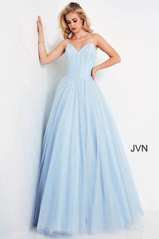 Jovani JVN04592 - JVN 04592 is a Princess Style Formal evening gown. Shimmering glitter tulle A Line Ballgown with a fitted strapless bodice with boning, peak points and a basque waistline. Stunning Prom, Pageant & Formal Evening gown. Available Sizes: 00,0,2,4,6,8,10,12,14,16,18,20,22,24  Available Colors: White, Light Blue, Burgundy