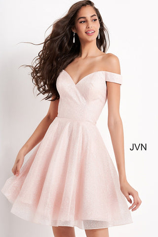 Jovani JVN04639 Short Shimmering Fit & Flare Formal Cocktail dress with off the shoulder straps. sweetheart neckline. Great formal evening gown for a classic cinderella look! JVN 04639  Available colors:  Blue, Pink  Available sizes:  00, 0, 2, 4, 6, 8, 10, 12, 14, 16, 18, 20, 22, 24