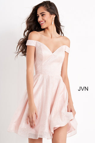 Jovani JVN04639 short off the shoulder homecoming dress cocktail dress