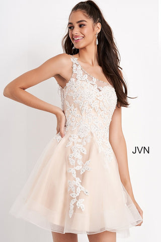 Jovani JVN04705 one shoulder sheer embellished applique lace neckline and sheer back short fit and flare tulle skirt cocktail dress homecoming dress.  Available colors:  Light Blue, Navy, Off White/Nude  Available sizes:  00-24