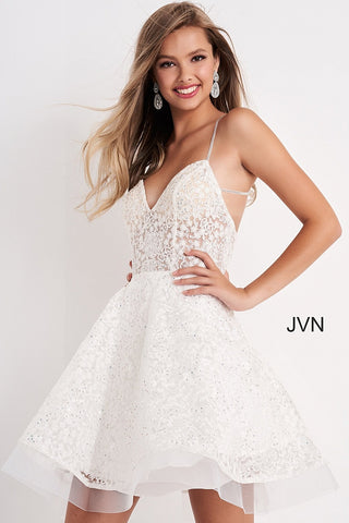 Jovani JVN04709 Embroidered lace short fit and flare cocktail dress homecoming dress with sheer bodice and unique design straps in the open back.  Available colors: Black, Light Blue, Off White, Red  Available sizes:  00-24