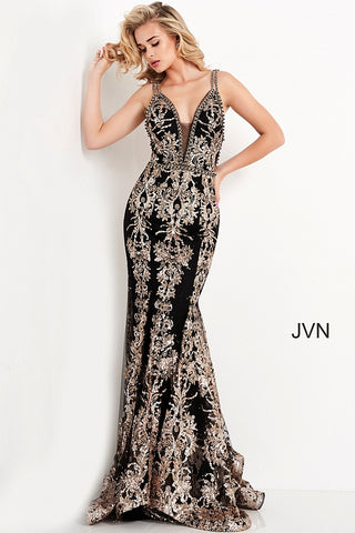 Jovani JVN04789 - JVN 04789 Long Fitted Black formal evening dress. Featuring sequin & Glitter embellishments scattered along the fitted mermaid silhouette. Plunging V Neckline with beaded straps and edges. Lush trumpet skirt with horse hair trim and sweeping train. Open back with sheer embellished straps. Available Sizes: 00,0,2,4,6,8,10,12,14,16,18,20,22,24  Available Colors: Black/Gold