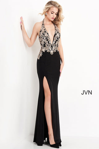Jovani JVN04791 - JVN 04791 is a Gorgeous shimmering stretch knit fabric embellished in cascading glitter & Sequins scroll designs along the fitted plunging v neckline halter and down the back into the sweeping train. Slit in skirt. Prom, Pageant, Formal evening wear & More! Available Sizes: 00,0,2,4,6,8,10,12,14,16,18,20,22,24  Available Colors: Black/Gold
