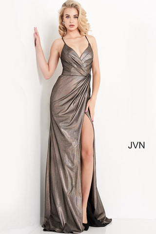 JVN 04794 ruched iridescent shimmer bronze prom dress v neckline wrap long skirt slit evening gown  Color  Bronze  Sizes  00, 0, 2, 4, 6, 8, 10, 12, 14, 16, 18, 20, 22, 24  JVN by Jovani 04794