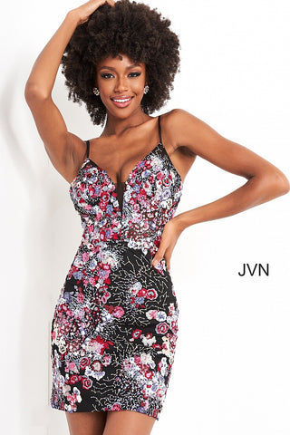 Jovani JVN05291 This Short fitted formal cocktail dress Features an embroidered floral/coral lace with sequin embellishments scattered throughout. Spaghetti straps lead from a deep V Plunging neckline with mesh insert.  JVN 05291  Available Sizes: 00,0,2,4,6,8,10,12,14,16,18,20,22,24  Available Colors: Multi Glass Slipper Formals
