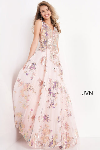 JVN05512 Plunging neckline floral sequins and print pink A line flowy prom dress evening gown  Color  Pink  Sizes  00, 0, 2, 4, 6, 8, 10, 12, 14, 16, 18, 20, 22, 24  JVN by Jovani 05512