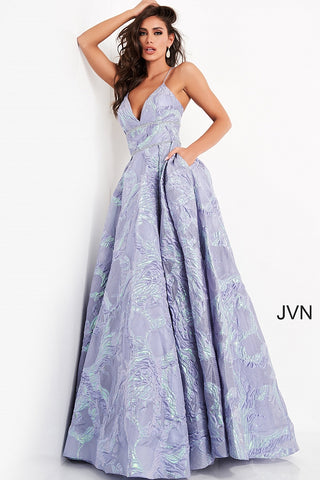 JVN05738 v neckline open back corset prom dress ball gown evening dress  Colors  Gold, Perriwinkle  Sizes  00, 0, 2, 4, 6, 8, 10, 12, 14, 16, 18, 20, 22, 24  JVN by Jovani 05738