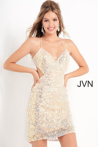 Jovani JVN05740 V neckline sequin embellished short fitted cocktail dress with side cutouts and open back homecoming dress Available colors:  Nude  Available sizes:  00, 0, 2, 4, 6, 8, 10, 12, 14, 16, 18, 20, 22, 24