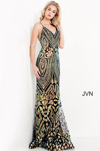 JVN05758 v neckline sequin fitted prom dress evening gown backless corset tie Colors:  Black/Multi, Lilac  Sizes;  00, 0, 2, 4, 6, 8, 10, 12, 14, 16, 18, 20, 22, 24  JVN by Jovani 05758