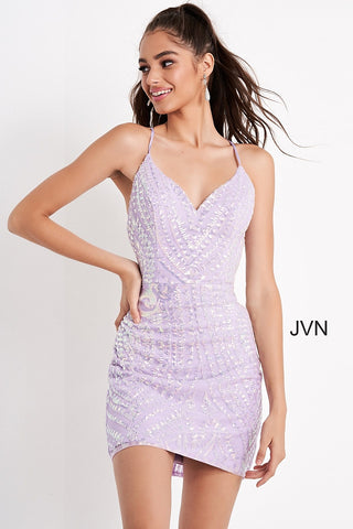 Jovani JVN05759 is a short fitted sequin embellished formal cocktail dress. Featuring a gorgeous sequin pattern and satin spaghetti straps. JVN 05759 Glass Slipper Formals Black/Multi, Lilac