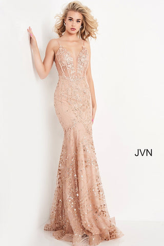 JVN05788 plunging v neckline with mesh panel sheer corset bodice with embellished applique lace long mermaid prom dress glitter embellished pageant gown evening dress with sweeping train  Color  Champagne  Sizes  00, 0, 2, 4, 6, 8, 10, 12, 14, 16, 18, 20, 22, 24  JVN by Jovani 05788