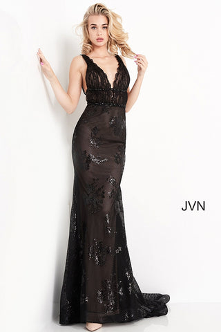 JVN05798 scalloped lace plunging neckline ruched bodice sexy fitted long prom dress evening gown backless Colors  Black/Nude, Ivory/Nude  Sizes  00, 0, 2, 4, 6, 8, 10, 12, 14, 16, 18, 20, 22, 24  JVN by Jovani 05798