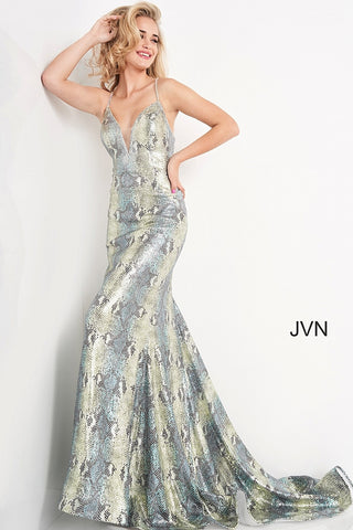 JVN05800 plunging v neckline with mesh panel long snakeskin mermaid prom dress with sweeping train features embellished straps in the open back  Colors   Blue/Green Sizes  00, 0, 2, 4, 6, 8, 10, 12, 14, 16, 18, 20, 22, 24  JVN by Jovani 05800