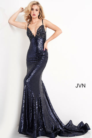 Jovani JVN05803 is a Stunning Long formal evening gown. This sequin embellished prom dress features a gorgeous v neckline with beaded & Embroidering for a floral pattern along the bust. Spaghetti straps leading to an open back with a lace up tie corset. This backless Prom dress also has a gorgeous sweeping train perfect for pageants! JVN 05803  Available Sizes: 00,0,2,4,6,8,10,12,14,16,18,20,22,24  Available Color: Navy