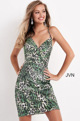 Jovani JVN05812 is a short fitted green cheetah print fully embellished with clear petite sequins for a touch of subtle glam. Bandage wrap bodice with spaghetti straps leading to an open corset lace up open back. Homecoming formal gown. JVN 05812  Available Sizes: 00,0,2,4,6,8,10,12,14,16,18,20,22,24  Available Colors: Green/Print