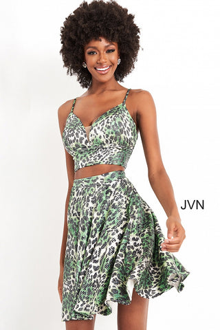 Jovani JVN05817 is a short Fit & Flare two piece formal cocktail dress. Featuring a fitted crop top with a v neckline and spaghetti straps. Fun flared skirt. All animal print is Embellished with clear petite sequins for a touch of fun! JVN 05817 Formal Homecoming party dress Available Sizes: 00,0,2,4,6,8,10,12,14,16,18,20,22,24  Available Colors: Green Print