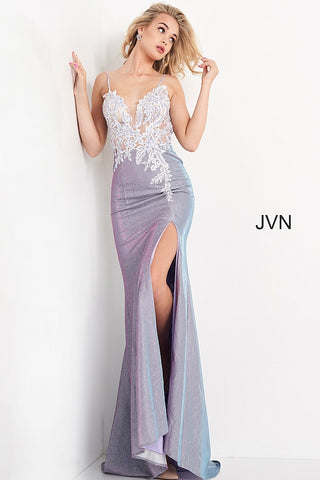 Jovani JVN06454 - JVN 06454 is a gorgeous long Lilac formal evening gown. This prom dress features a glitter shimmering stretch iridescent skirt with a slit and floral lace appliques cascading down the back of the dress into the sweeping train. Fitted Plunging  V Neckline sheer bodice covered in beaded & Embellished flower lace appliques and crystal rhinestone studded spaghetti straps. Open V Back. Available Sizes: 00,0,2,4,6,8,10,12,14,16,18,20,22,24  Available Sizes: Lilac